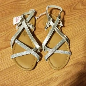 Justice Girls Silver Glitter Flats Sandals 3 NWT